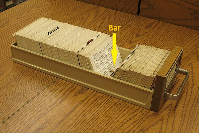 catalog drawer, with bar
